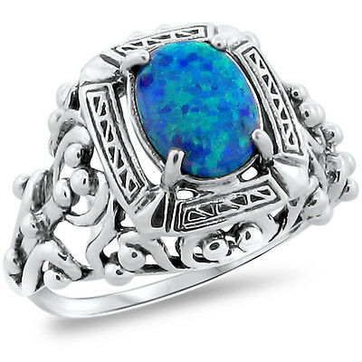 Antique Victorian Style Blue Lab Opal .925 Sterling Silver Ring Size 8,   #229