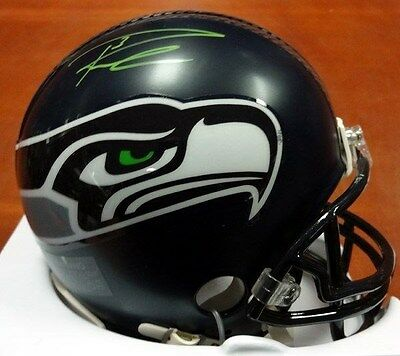 Russell Wilson Autographed Signed Seattle Seahawks Mini Helmet In Green Rw Holo