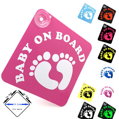 BABY ON BOARD - Cute Feet - car window sign with suction cups