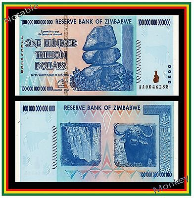 $100 Trillion Zimbabwe 2008 AA - Free Shipping to U.S. and Canada - U.S. Seller