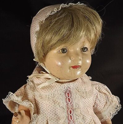 """Effanbee Baby Composition Antique Doll 19"""" Stuffed Body Germany ?"""