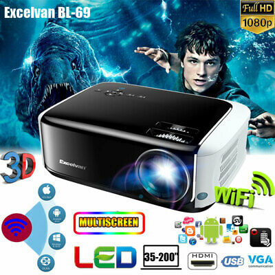 4K FHD 1080P WIFI Android 6.0 7000LM LED Projector Home Theater Multimedia 1+8GB