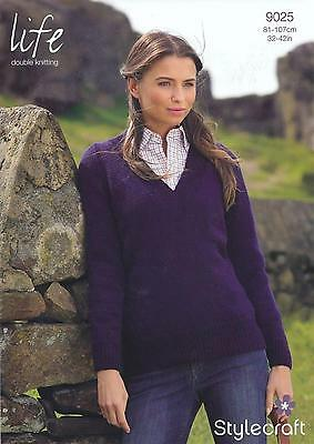 Stylecraft Knitting Pattern 8236 Lacy Wrap Over Cardigan Ladies Life DK 32-42/""