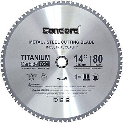 Concord Blades 14-Inch 80 Teeth TCT Ferrous Metal Cutting Carbide Saw Blade