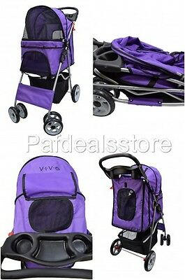 Pet Strollers For Small Dogs Cat Wheels Foldable Carrier Cart Purple Cup Holders