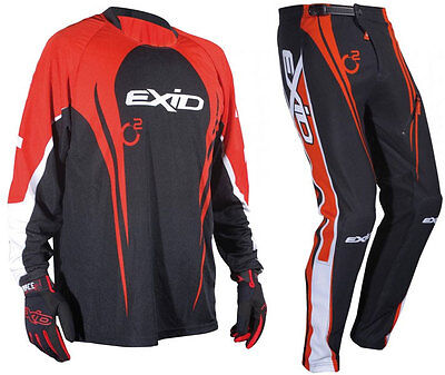 SHOT EXID 11 TRIALS PANTS + JERSEY RED off-road mx enduro bike trousers shirt