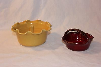 SIGNED NC Pottery PAIR! McNeill's Yellow Apple Baker & Red Bolick Basket! VGUC!