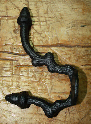6 Cast Iron BLACK ACORN & BRANCH Style Coat Hooks Hat Hook Rack Hall Tree SCHOOL