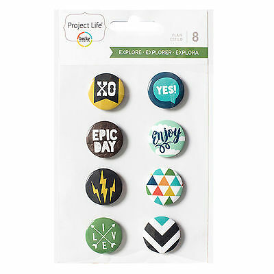 Becky Higgins Project Life EXPLORE EDITION (8) FLAIR BADGES scrapbooking 380616