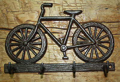 Cast Iron BICYCLE Towel, Coat Hooks,  Hat Hook, Key Rack BIKE RIDER