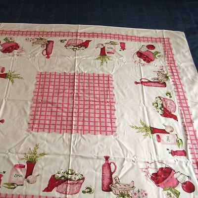 Vintage Printed Cotton Tablecloth White Pink Green 47 by 51 Inches