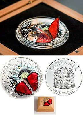 Rare 2016 Tanzania Large Proof Silver 1000 Fr 3D Butterfly--Gift Box