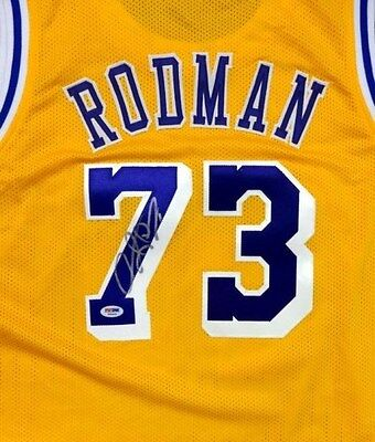 Los Angeles Lakers Dennis Rodman Autographed Signed Yellow Jersey Psa/dna