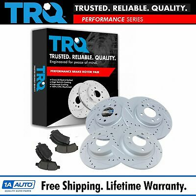 Nakamoto Brake Rotor Drilled Slotted Zinc Coated & Ceramic Pad Front & Rear Kit