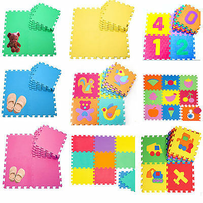 Large 10Pc Eva Interlocking Soft Foam Kids Play Mats Floor Gym Office Tiles