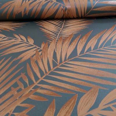 Charcoal & Copper Trailing Palm Leaves Wallpaper - 10m roll - NEW!