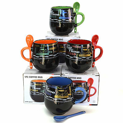 Coffee Mug Set with Spoon Black Mothers Day Coloured Mugs Ceramic Set/4 3066