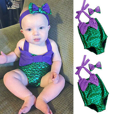Princess Girls Little Mermaid Bikini Suit Swimming Costume Swimsuit Swimwear US