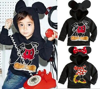 Lovely Kids Clothing Mickey Minnie Mouse Cotton Hooded Jacket Sweater Hoodies wn