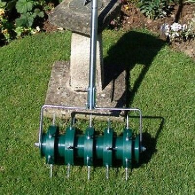Greenkey 30cm Rolling Lawn Aerator Grass Air Breath Spikes Roller BRAND NEW
