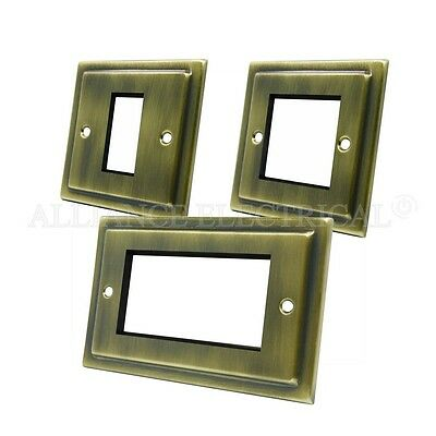 Victorian Antique Brass Data Grid Outlet Face Plate