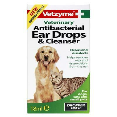 Vetzyme Antibacterial Ear Drops Wax Cleanser for Dogs, Cats, Small Animals 18ml