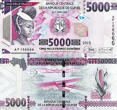 GUINEA 5000 Francs Banknote World Paper Currency Money Pick new 2015 Note UNC