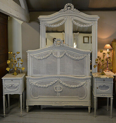 Antique French Louis XVI style Chambre set Armoire Bedstead & Bedside Cabinets