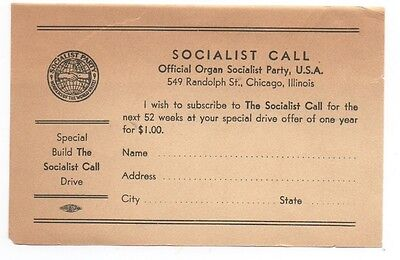 1930s Subscription Form for the Socialist Call Paper Chicago