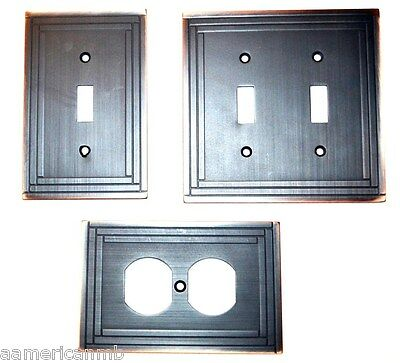 Metal Wall Plate Single Double Switch Duplex Outlet Cover Selby Bronze Copper