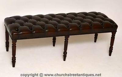 Antique Victorian Style Deep Buttoned Leather & Mahogany Stool - Bench