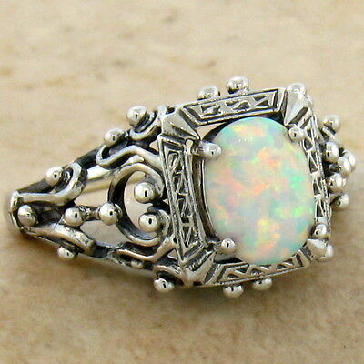 White Lab Opal Antique Victorian Design 925 Sterling Silver Ring Size 10,  #583