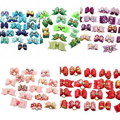 CUTE assorted Rhinestone Ribbon Pet Hair Bows Dog Cat Puppy Grooming Accessories