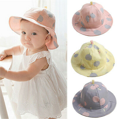 Baby Infant Kids Girls Cotton Hat Cap Summer Sun Beach Cute Polka Dot Hats Comfy