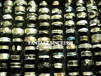 50pcs mixed styles mens womens fashion stainless steel jewelry rings wholesale