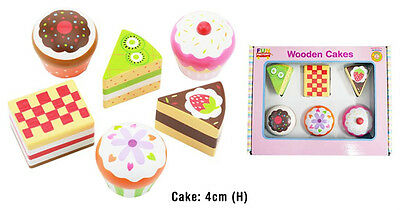 NEW Fun Factory 6 piece Wooden Cake Set - Play Food