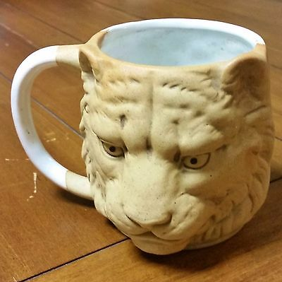 UCTCI Japan White Glazed Lion Head Mug Coffee Tea Cup Figural Cat Lion King