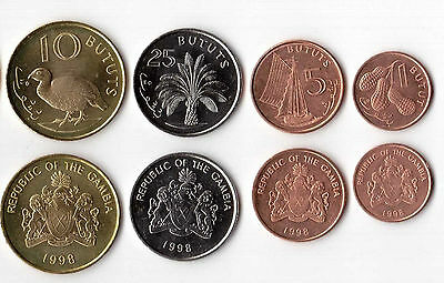 Gambia set 4 1-5-10-25 bututs 1998 FDS  UNC
