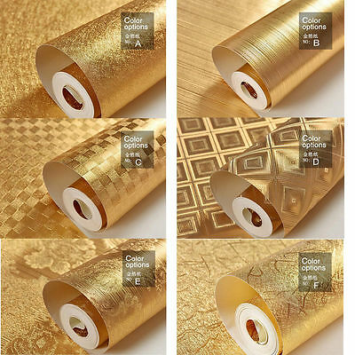 Wall Paper Wallpaper Roll Gold Foil Embossed Feature 3D Textured - 6 Styles