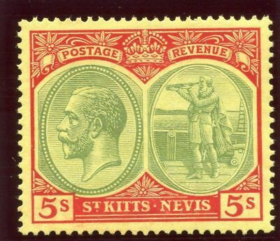 St Kitts-Nevis 1929 KGV 5s green & red/yellow superb MNH. SG 47c. Sc 51.