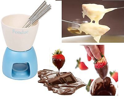 Ceramic Chocolate Cheese Fondue Set With Colored Base & 4 Stainless Steel Forks