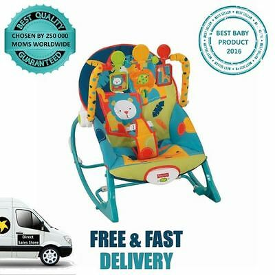 Fisher Price Infant To Toddler Rocker Safari Fold Out Kickstand Recliner Soother