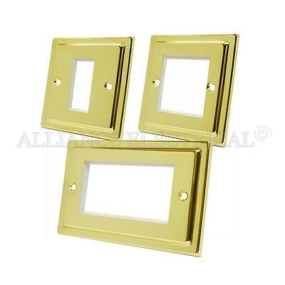 Victorian Polished Brass Data Grid Outlet Face Plate