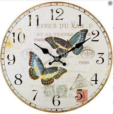 Shabby Chic French Rustic Antique Style Butterfly Wall Clock Brand New