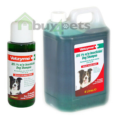 Vetzyme JDS Dog Shampoo Insecticidal Flea Shampoo for Dogs and Pups Kills Fleas