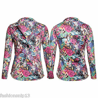 WOMENS STRETCHY GOTHIC ART BLAZER Deco Flower PRINT LONG SLEEVES JACKET 8 10 14