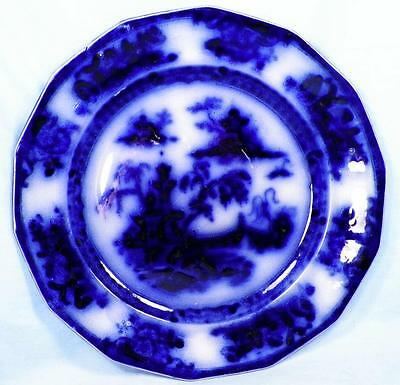Antique Pelew Flow Blue Dinner Plate E Challinor Ironstone Charger A Beauty