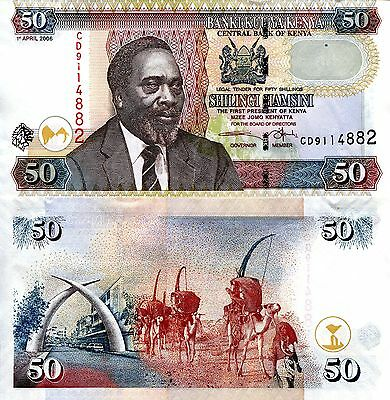 KENYA 50 Shillings Banknote World Money Currency p47b BILL Note Africa Kenyatta