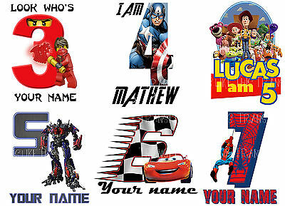 Personalised Birthday Number Age Iron On T-Shirt Fabric Heat Transfer