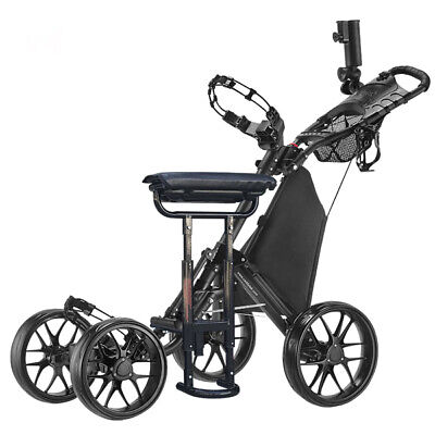 CaddyTek CaddyCruiser ONE v3 Folding 4 Wheel Golf Buggy Black + Removable Seat